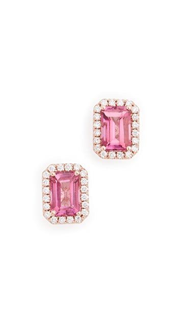 Kalan by Suzanne Kalan 14k Rose Gold Emerald Cut & Pave Diamond Stud Earrings