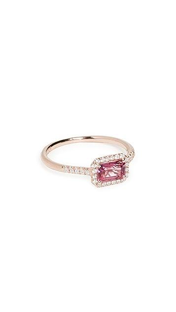 Kalan by Suzanne Kalan 14k Rose Gold Hexagon & Pave Diamond Ring