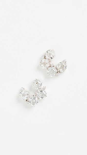 Kalan by Suzanne Kalan 14k White Gold Hexagon & White Diamond Earrings