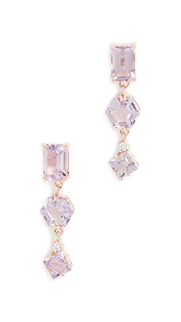 Kalan by Suzanne Kalan 14k Rose Gold Triple Drop Earrings with Post Back