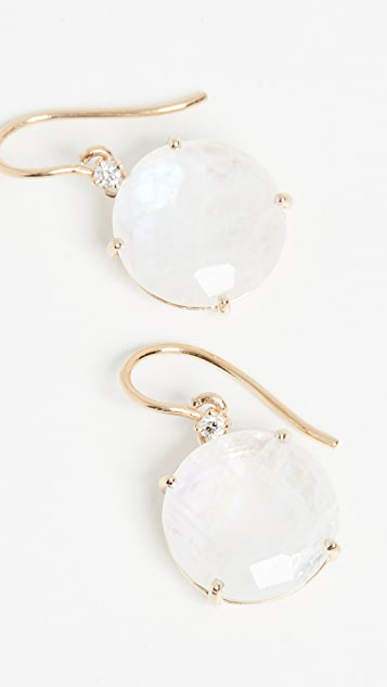 Kalan by Suzanne Kalan 14k Yellow Gold Earrings Round Moonstone