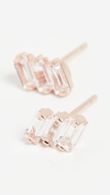 Kalan by Suzanne Kalan 14k Rose Gold Three Baguette Earrings