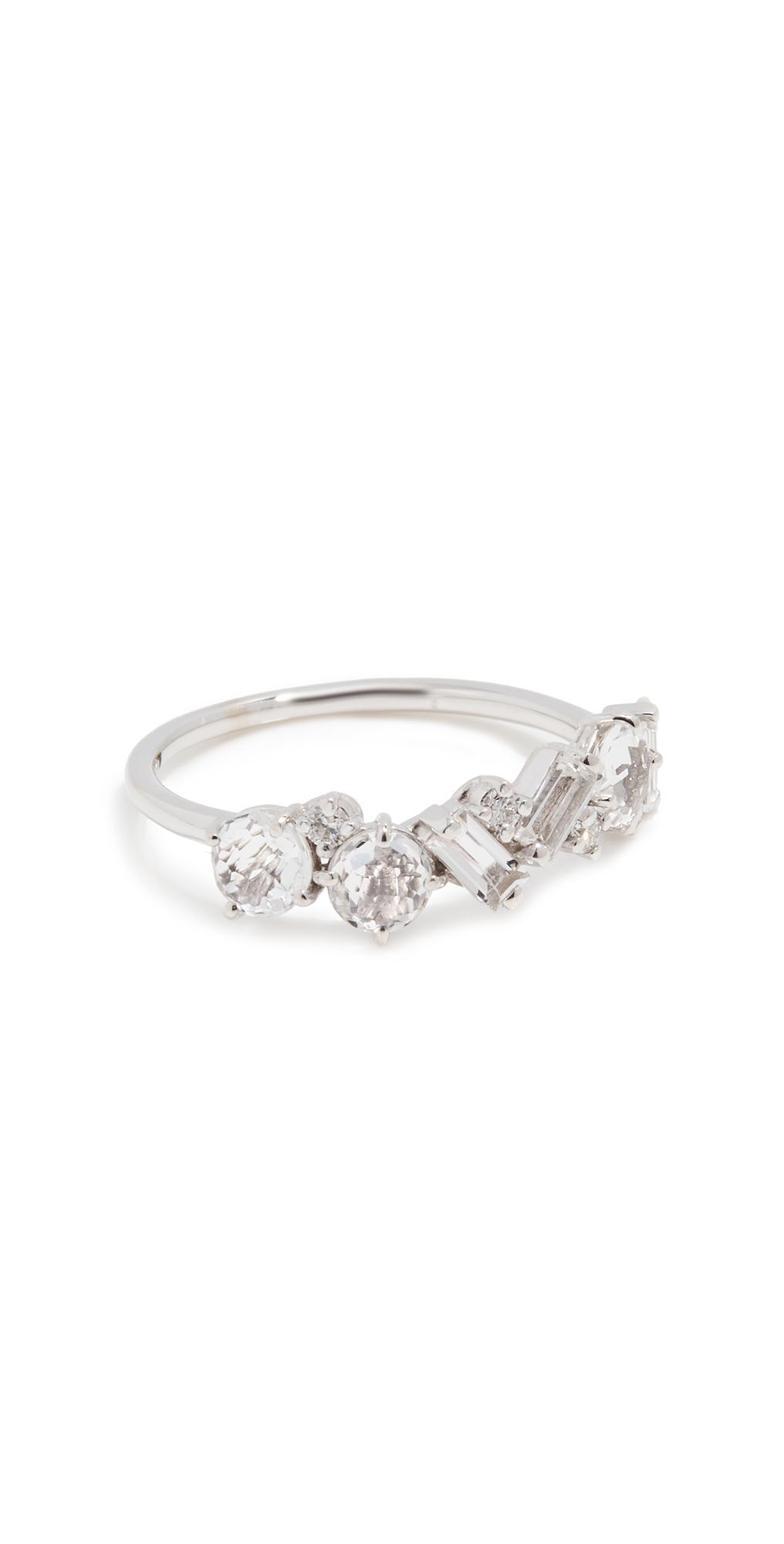 White Topaz and Diamond Cluster Ring