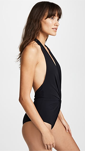 Karla Colletto Low Back Plunge One Piece Swimsuit