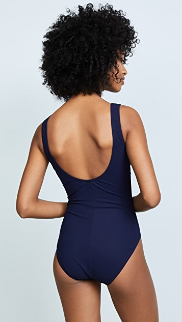 Karla Colletto Lace Up V Neck Swimsuit
