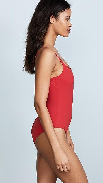 Karla Colletto Облегающий купальник с овальным вырезом спереди и глубоким вырезом на спине