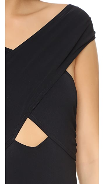 Karla Colletto Wrapping Surplice Neck One Piece