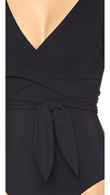 Karla Colletto Wrapped Surplice Neck One Piece