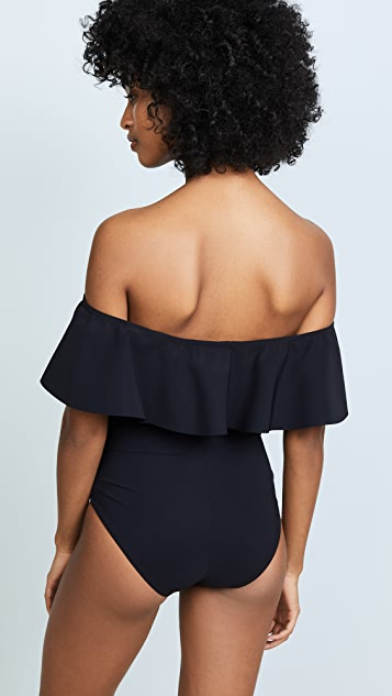 Karla Colletto Off Shoulder Flounce Swimsuit