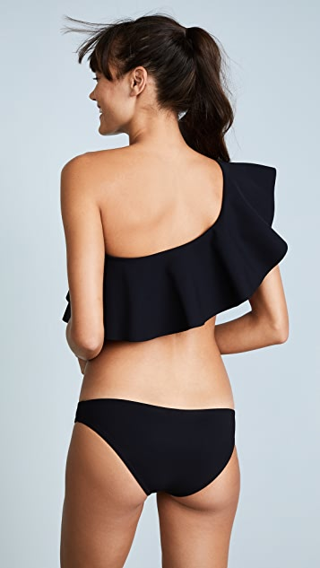 Karla Colletto Zaha One Shoulder Bikini Ruffle Top