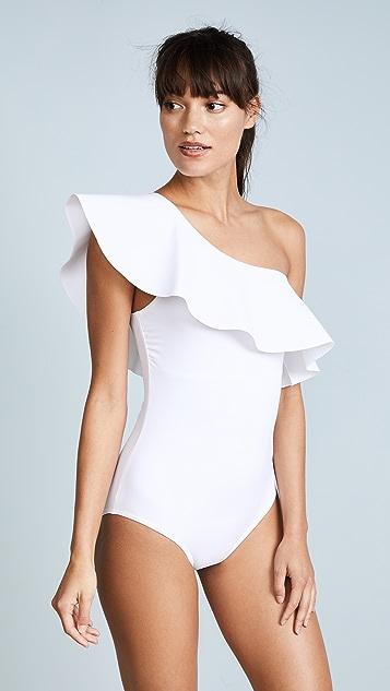 Karla Colletto Zaha One Shoulder Maillot - White