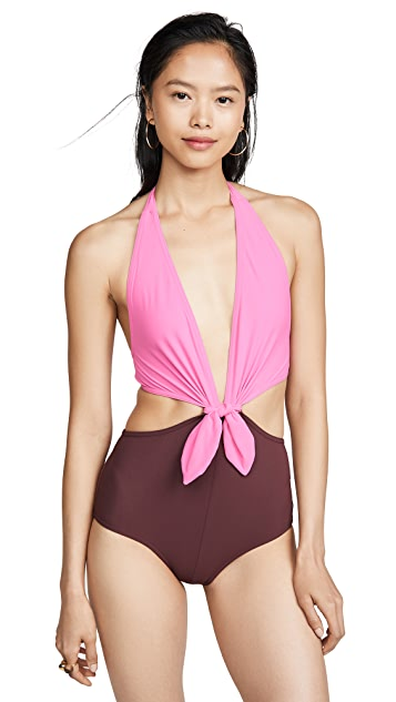 Karla Colletto Grace Low Back Plunge with Ties One Piece
