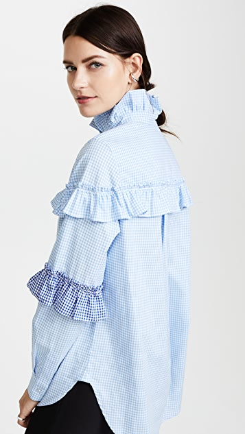 Katya Dobryakova Ruffle Decor Plaid Shirt
