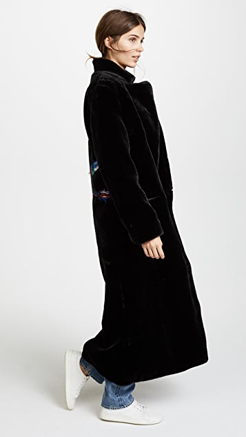 Katya Dobryakova Birds Eco Fur Long Coat
