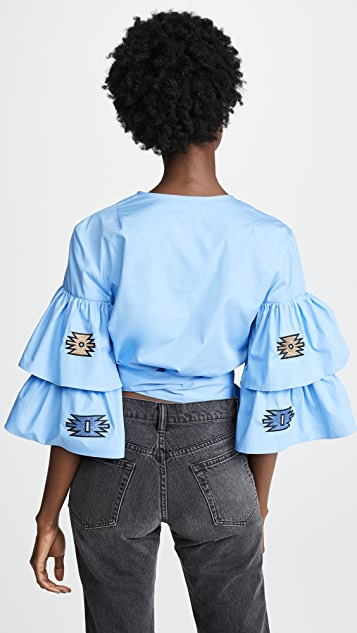 Katya Dobryakova Sharp Zigzag Ornament Crop Shirt