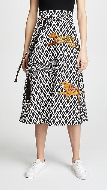Katya Dobryakova Multi Animals Rhombus A-Line Midi Skirt