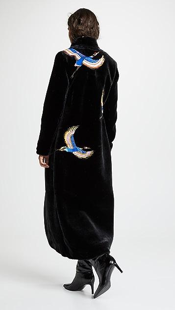 Katya Dobryakova Cranes Sequins Eco Faux Fur Coat