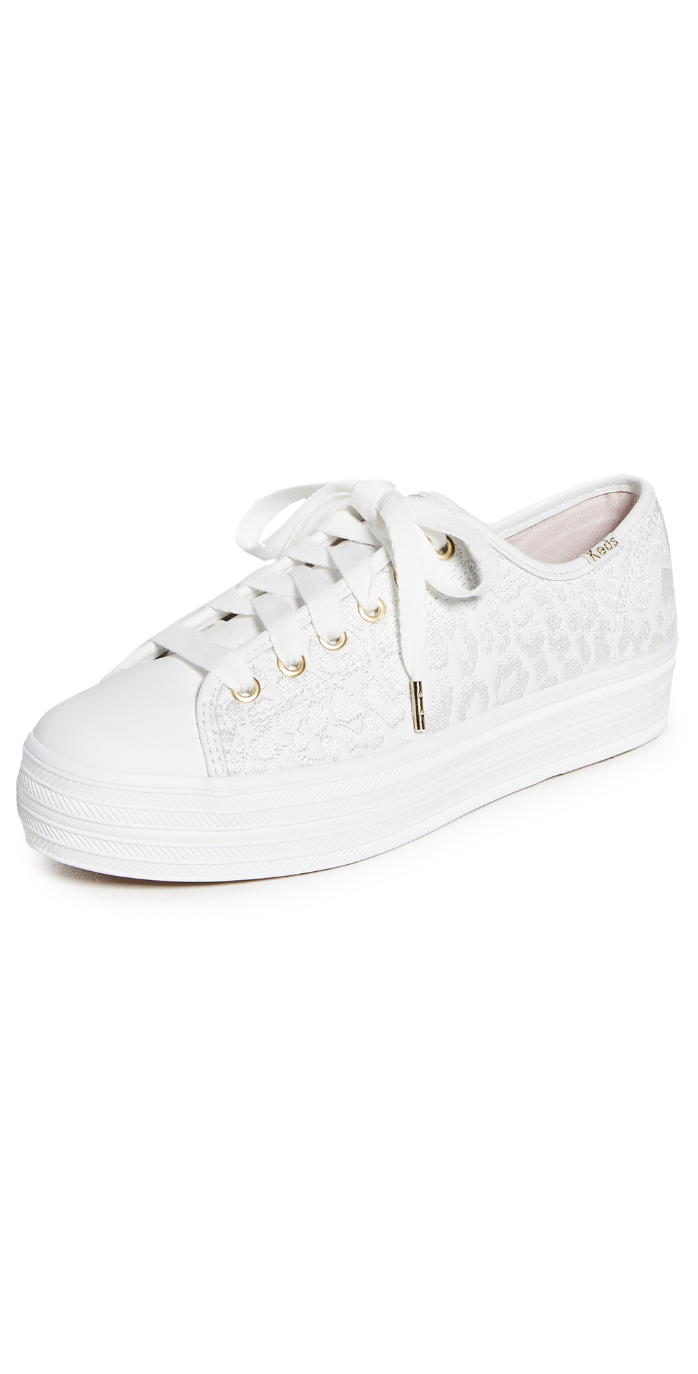 x Kate Spade Triple Kick Embroidered Leopard Sneakers