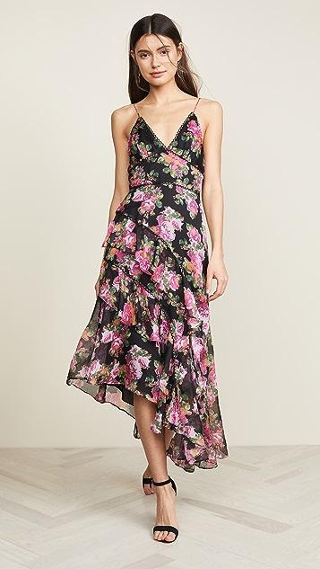 Keepsake Oblivion Midi Dress - Black/Rose Floral