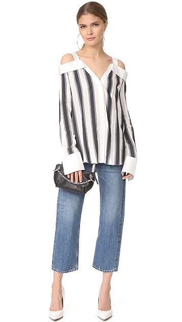 KENDALL + KYLIE Stripe Off Shoulder Shirt