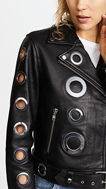 KENDALL + KYLIE Grommet Leather Jacket