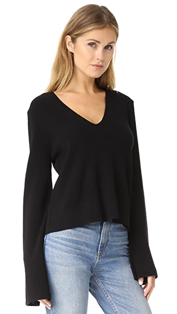 KENDALL + KYLIE V Neck Bell Sleeve Sweater