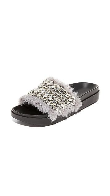 KENDALL + KYLIE Sammy Faux Fur Embellished Slides