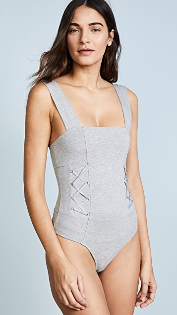 KENDALL + KYLIE Knit Grey Thong Bodysuit