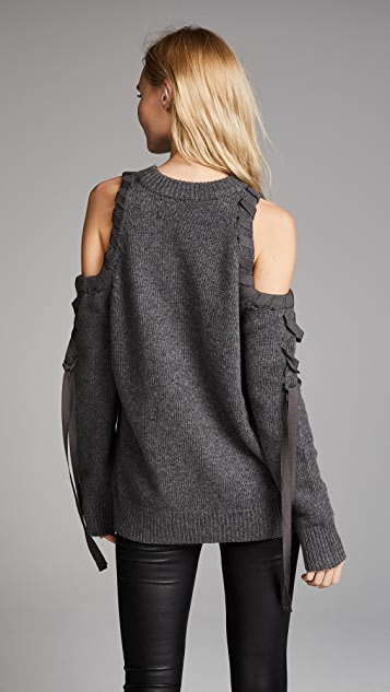 KENDALL + KYLIE Cold Shoulder Lace Up Sweater