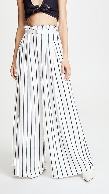 KENDALL + KYLIE Wide Leg Pants - White/Navy Pinstripe