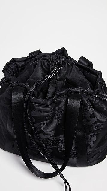 Black camo print tote