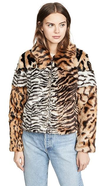 KENDALL + KYLIE Studio 54 Faux Fur Jacket