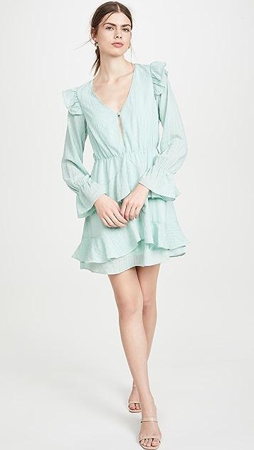 KENDALL + KYLIE Gauze V Neck Ruffle Dress
