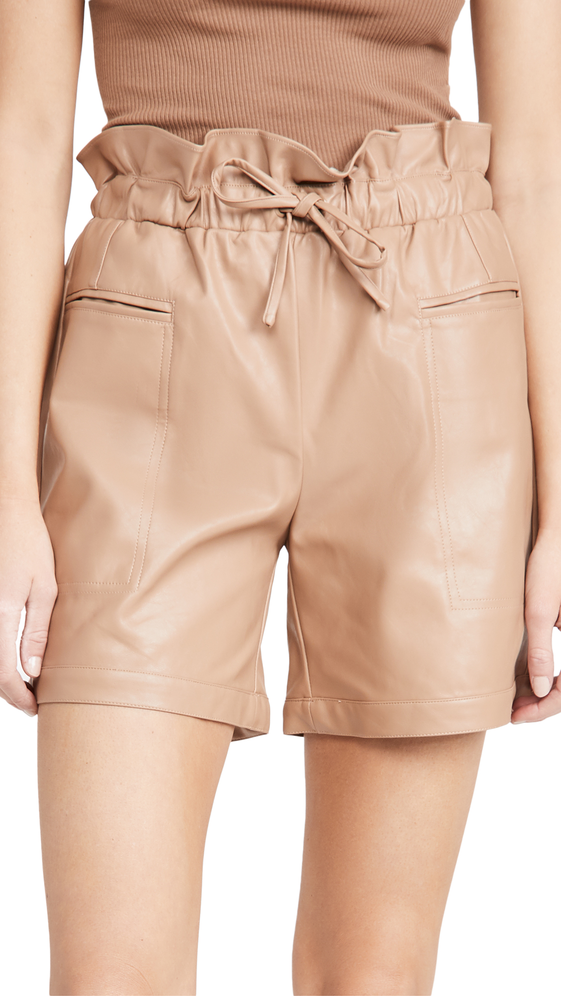 KENDALL + KYLIE Vegan Leather Paperbag Shorts