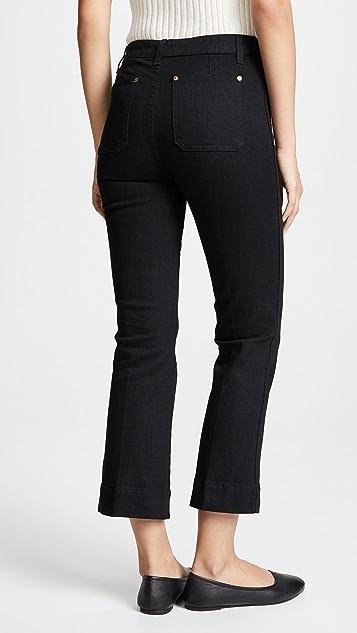Khaite Raquel Patch Pocket Cropped Flare Jeans