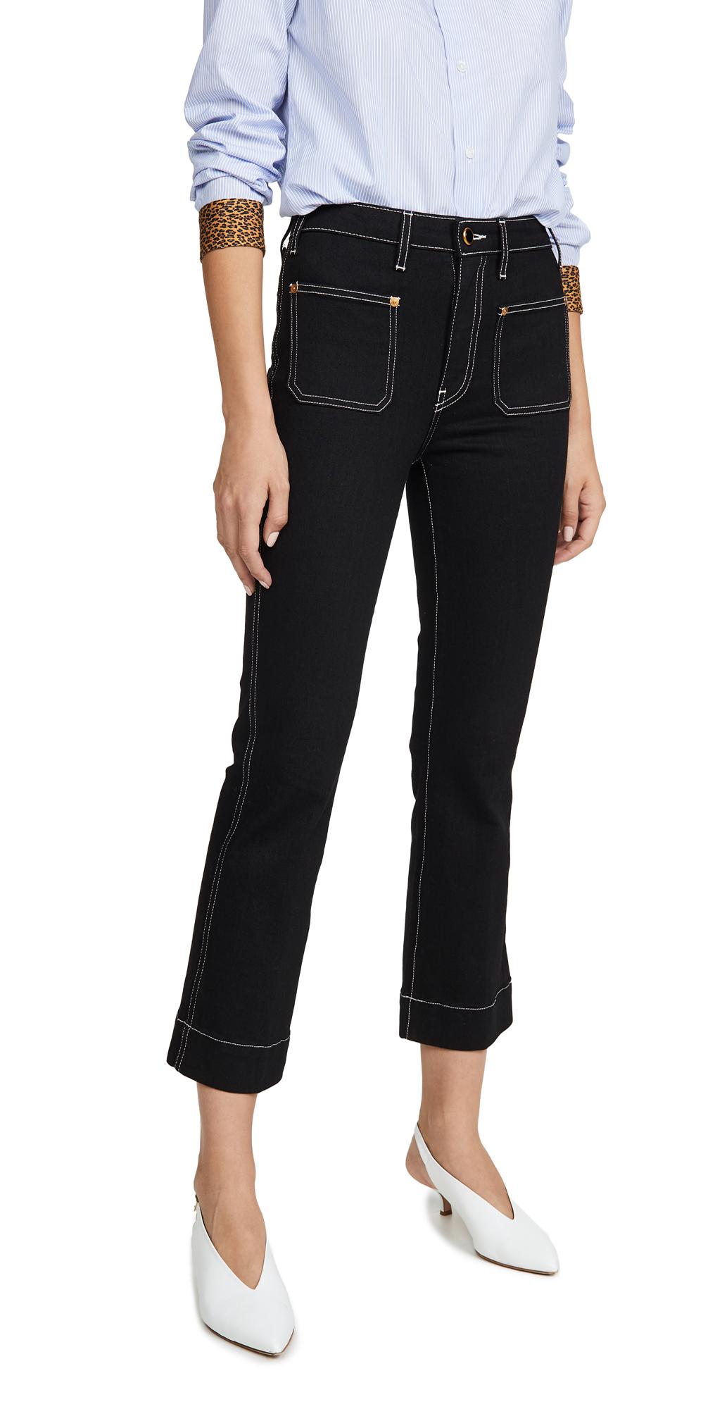 Khaite Raquel Patch Cropped Flare Jeans