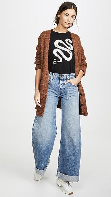 Khaite Noelle Wide Leg Rolled Jeans