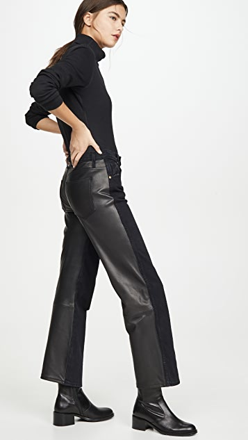 Khaite Kerrie Jeans with Leather Combo