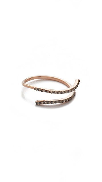 Kismet by Milka 2 Row 14k Gold Pinky Ring