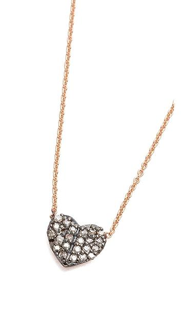 Kismet by Milka 14k Rose Gold Tiny Folded Heart Necklace