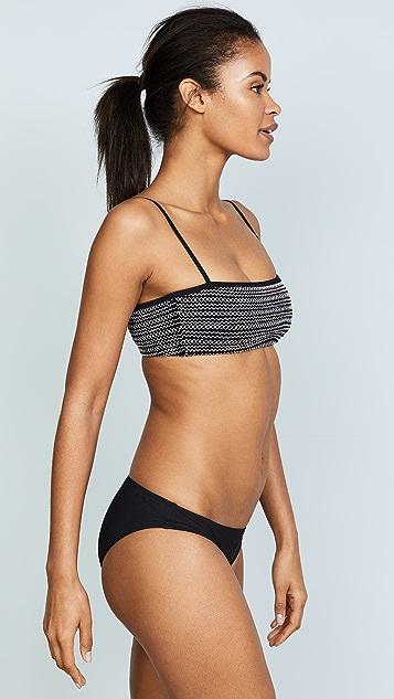 kisuii Adrianna Straight Smocked Bandeau Bikini Top