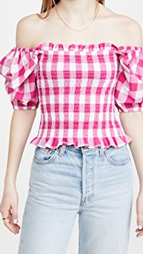 KITRI Carmilla Gingham Top