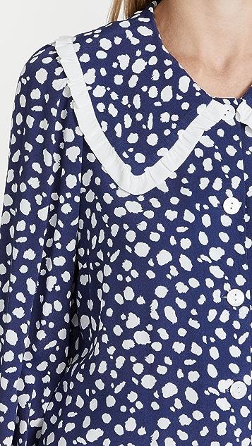 KITRI Laura Navy Animal Spot Frill Collar Top