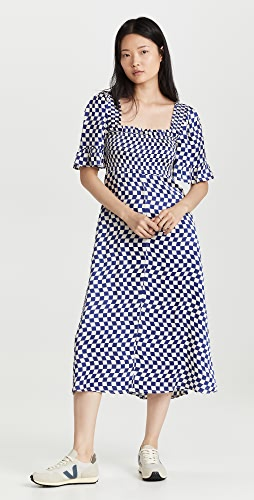 KITRI - Arabella Navy Checker Shirred Dress