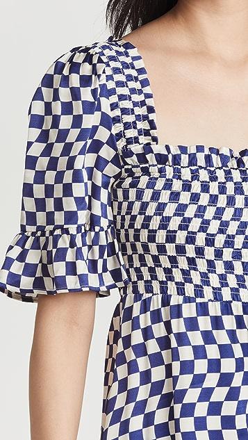 KITRI Arabella Navy Checker Shirred Dress