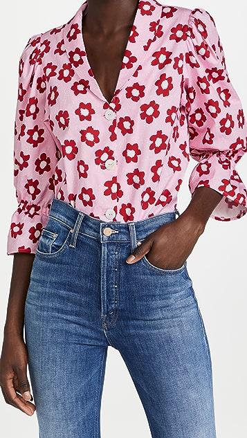 KITRI Bretta Pink Floral Cotton Top