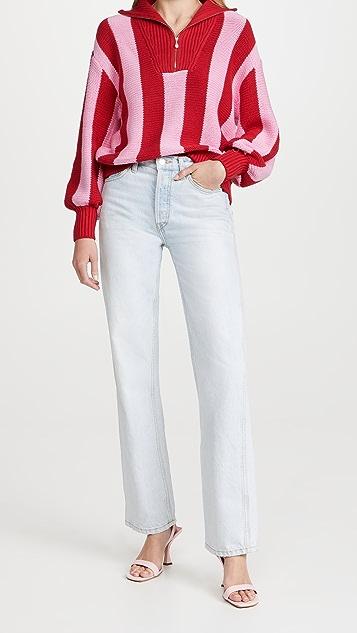 KITRI Lorna Pink Stripe Cotton Sweater