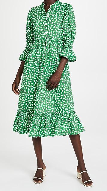 KITRI Rosie Green Floral Cotton Midi Dress