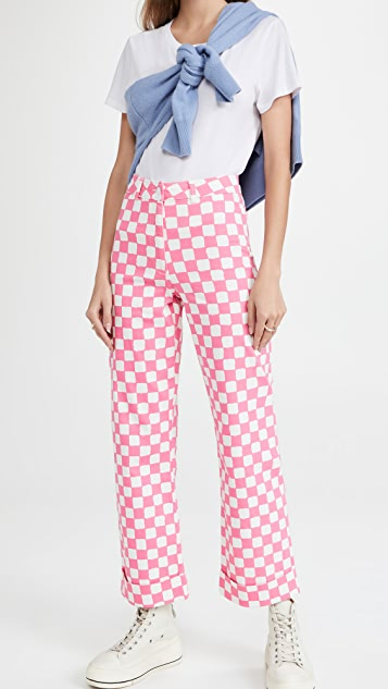 KITRI Olive Pink Checker Trousers