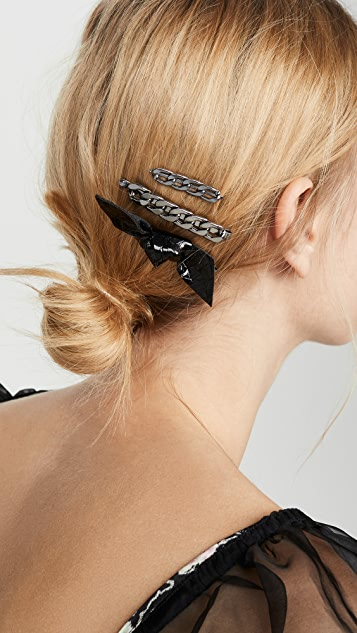 Kitsch x Justine Marjan 8 pc Chain and Bow Bobby Pin Set